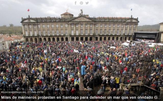 Espagne Galice manifestation Pêcheurs et mytiliculteurs santiago 27 février 2016 el correo gallego