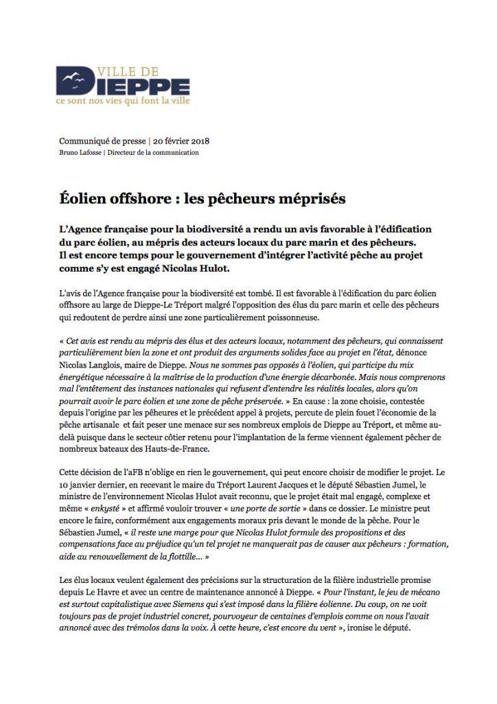 Communiqué Dieppe 20 février 2018